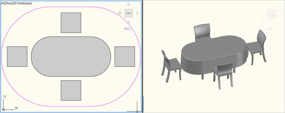 Dinnertisch Oval 2,0m x 1,0m für 4 Personen