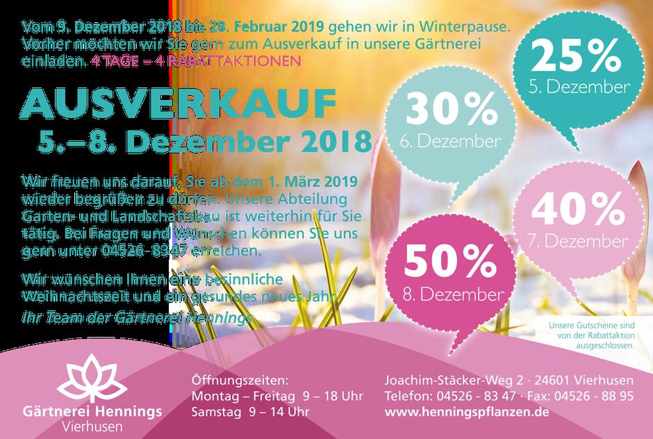 Hennings Winterpause 9. Dezember bis 28. Februar 2019