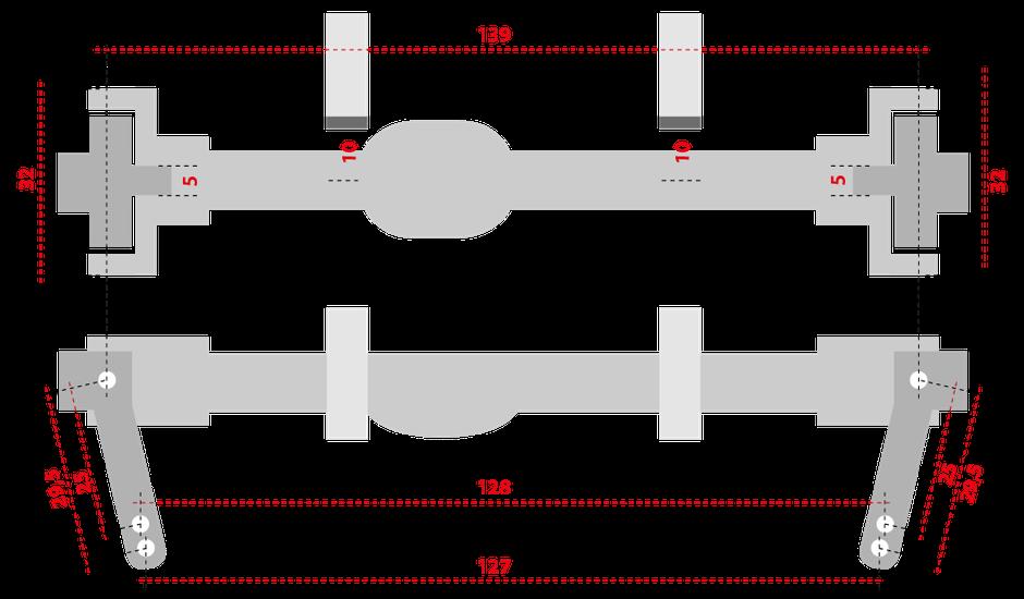 Abbildung/Skizze: crawlster 4S Passmaße (Vorder- und Draufsicht)