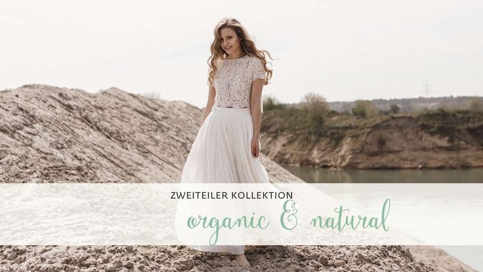 Die neue elementar Brautkollektion ORGANIC & NATURAL besticht durch natürliche Lässigkeit und nachhaltige Materialien! Zweiteilige Brautkleider für die moderne Braut!