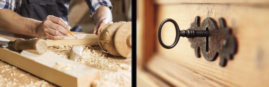 Restauration Intarsien Holz Handwerk Schrank
