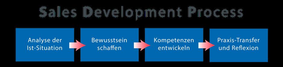 Sales Development Prozess basiert auf dem klassischen 4-stufigen Change-Prozess und wurde von MEVISSEN consulting auf die Zielsetzungen von Retail-Organisationen übertragen