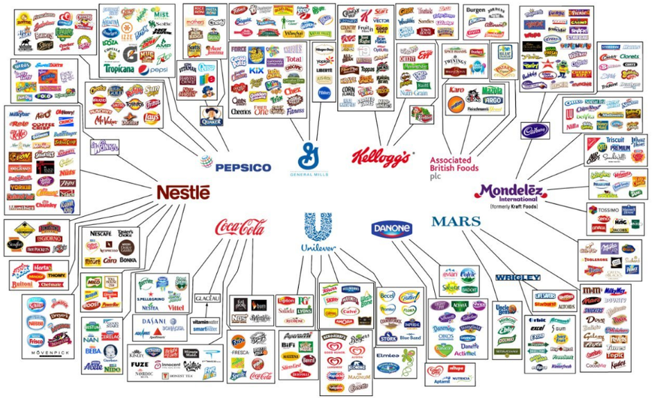 This figure shows the ten multinational conglomerates that control almost all of the food and beverage brands we all recognise.