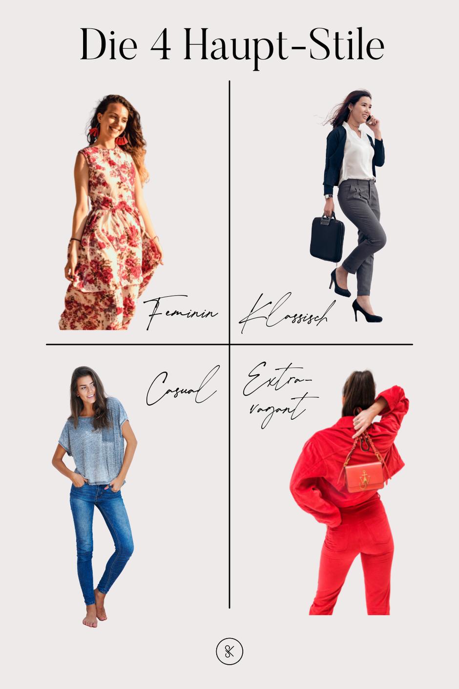 Stilberatung für Frauen. Romantischer Stiltyp, Klassisch-eleganter Stiltyp, Sportlicher Stil, Natürlicher Stil, extravaganter Stiltyp