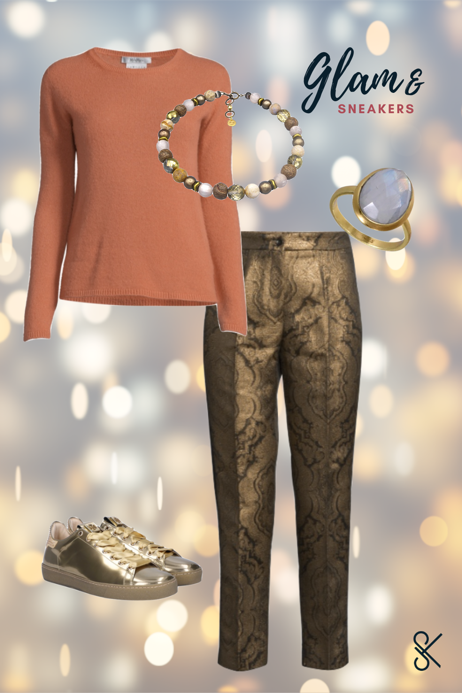 Party-Outfit mit Goldenen Sneakers