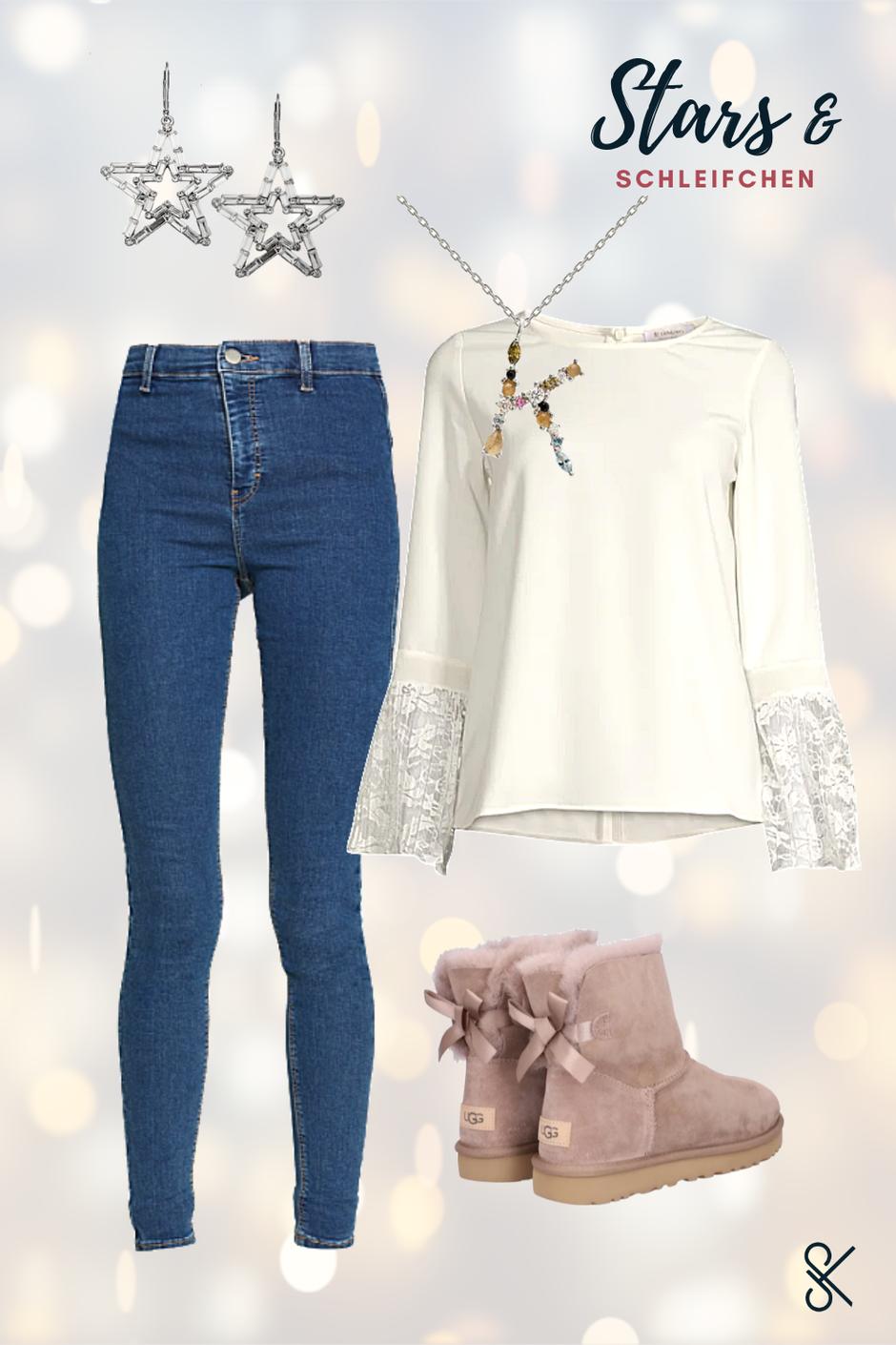 2. Festtags-Outfit mit Highwaist-Jeans und Spitzenbluse