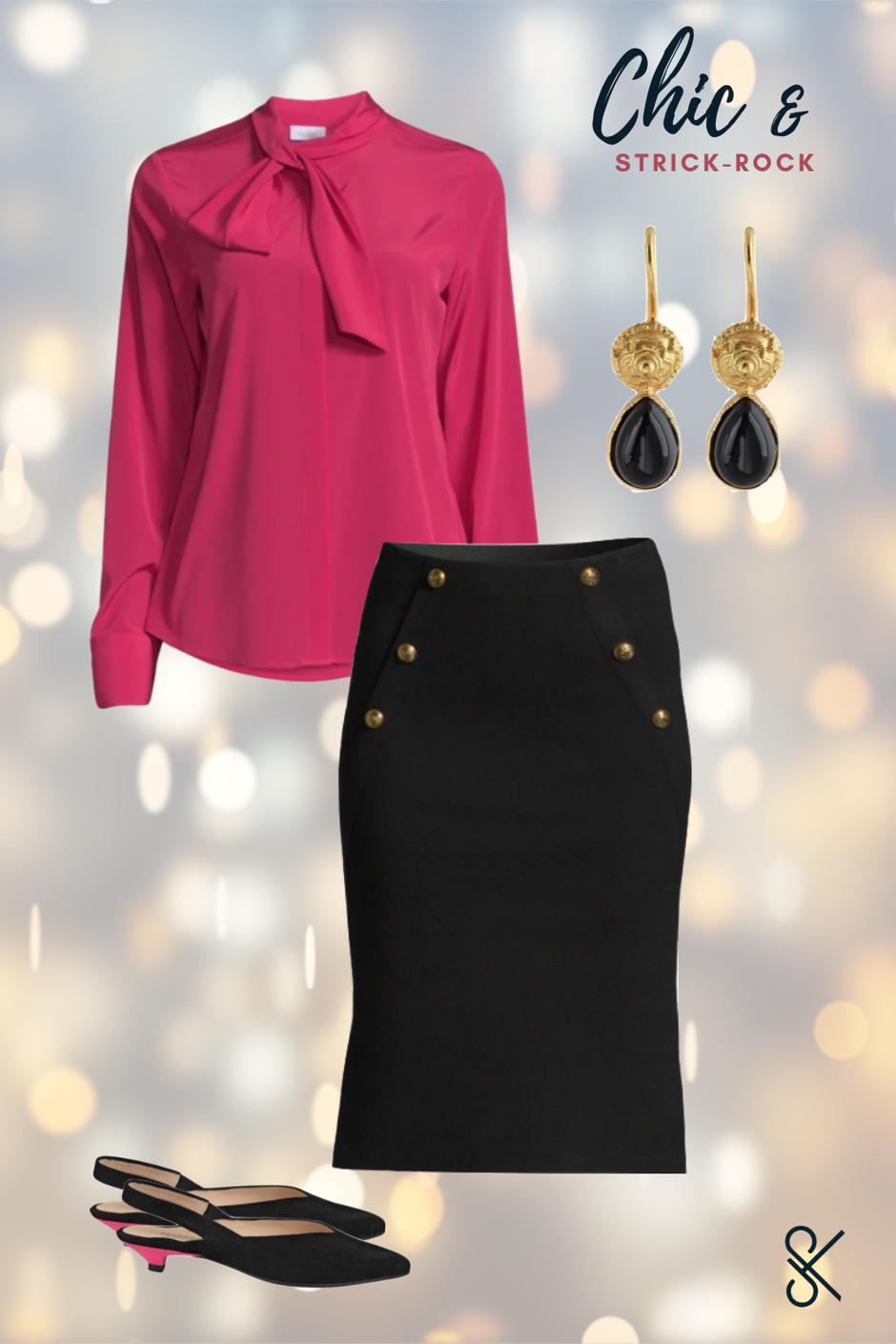 Silvester-Outfit Damen mit Strickrock