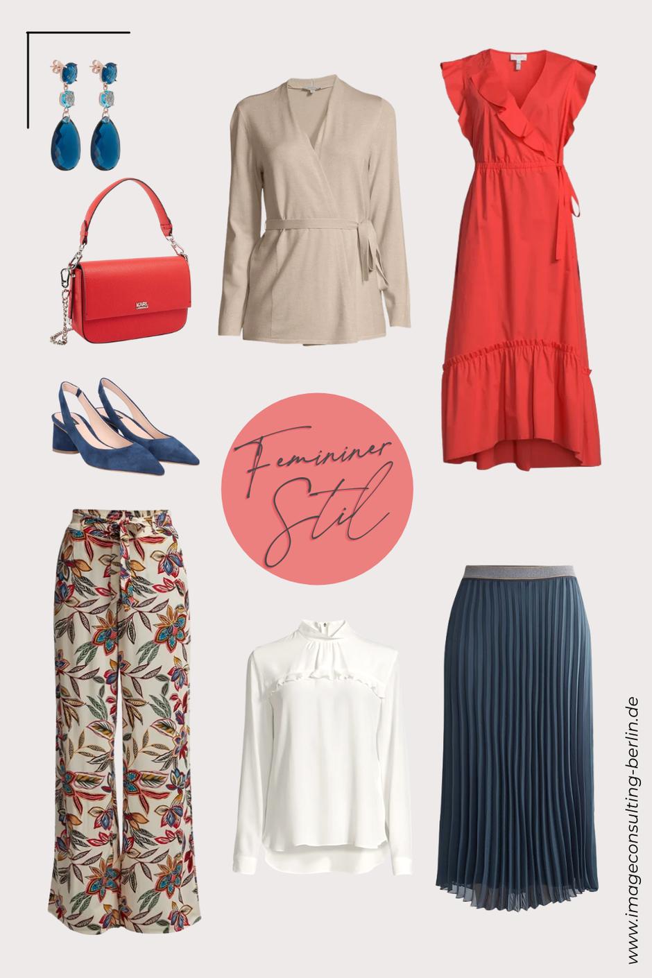 Stilberatung für die Capsule Wardrobe feminin romantischer Stil: Kleider, Röcke, fließende Blusen, florale Prints, Ballerinas, verspielter Schmuck