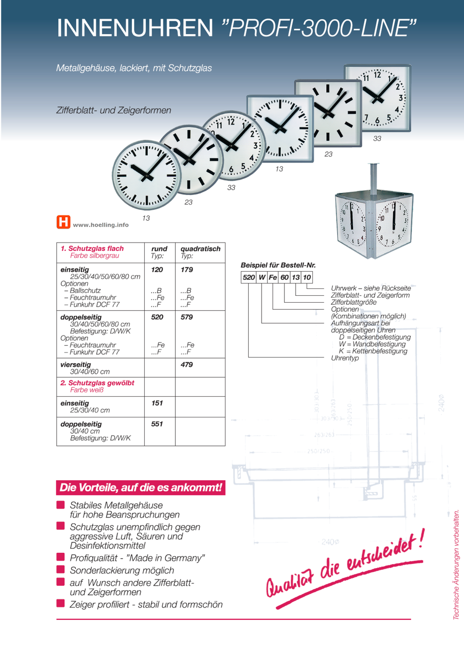 Innenuhren PROFI-3000-LINE  www.hoelling.info
