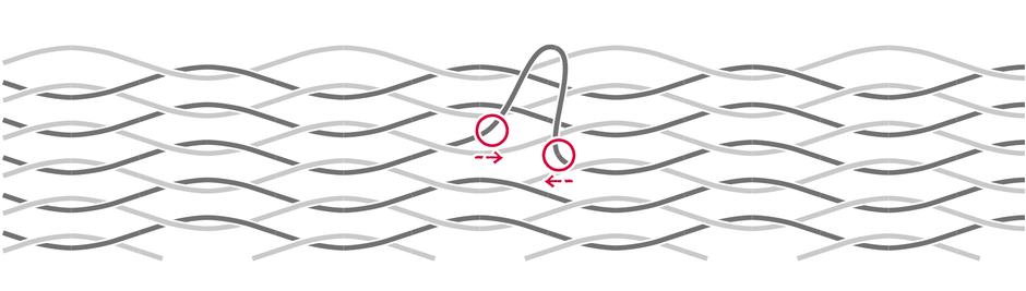チェアーハンモックの糸が伸びた際の修理方法1
