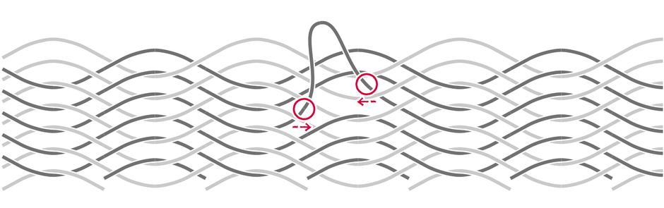 ハンモックの糸が伸びた場合の修理方法1