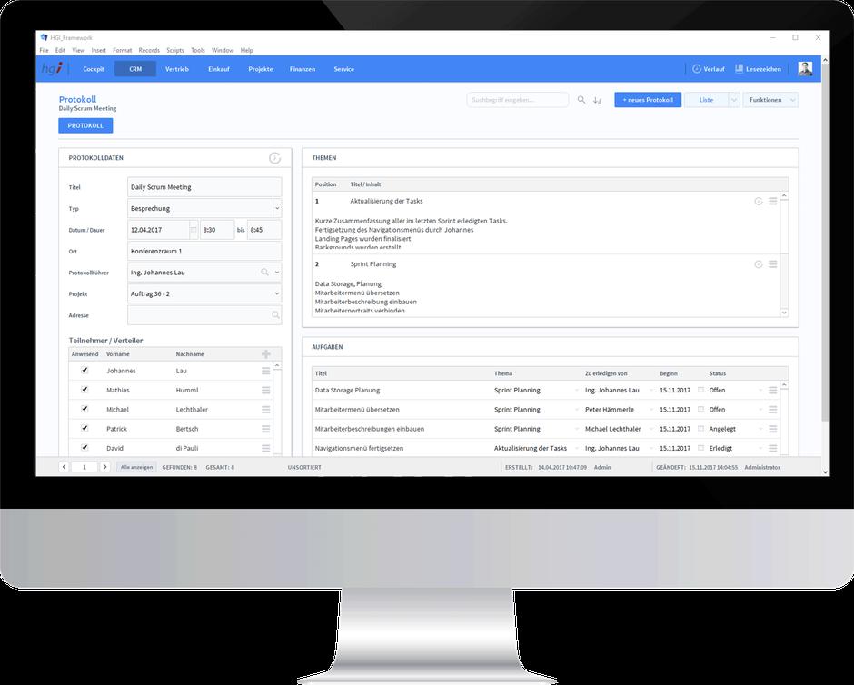 Protokolle einfach erstellt, mit OfficeAssistant CRM