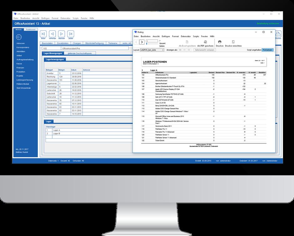 Lagerbewegungen und Lagerpositionen mit OfficeAssistant ERP