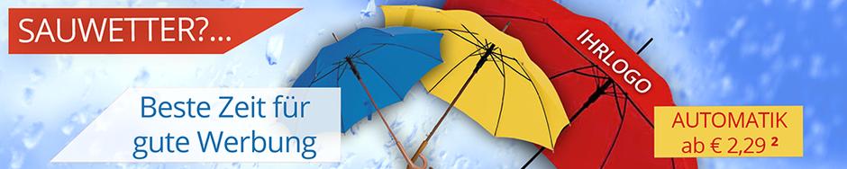 Regenschirme mit Logo bedruckt bei DerWerbekoch zu coolen Preisen