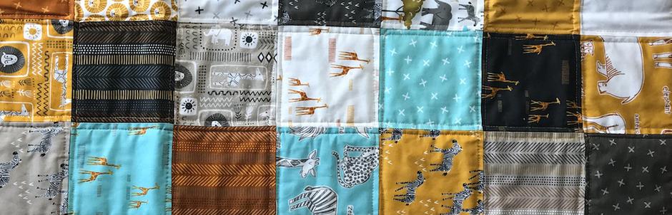 "Patchworkdecke Quilt mit 5"" Quadraten Safari"