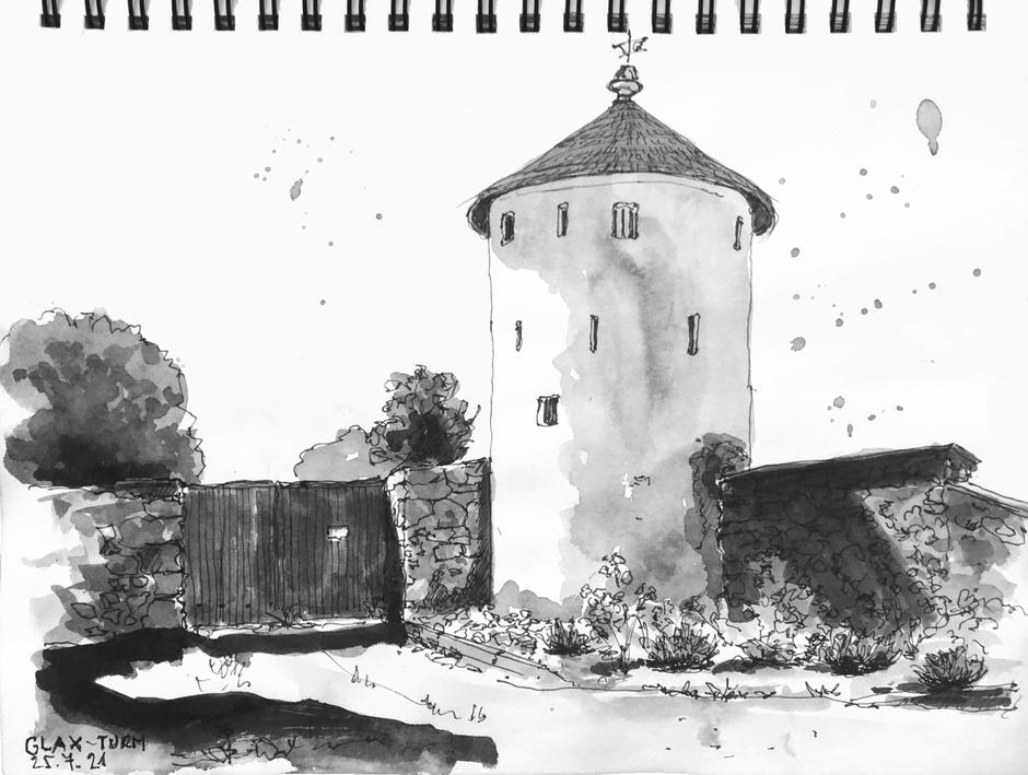 Birgit Lippeck_Zeichnung Glaxturm Scheibbs