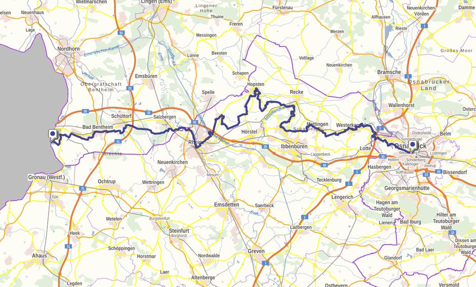 Screenshot des Handelswegs auf GeoLife.de. Dort ist der Weg als dynamische Karte dargestellt.