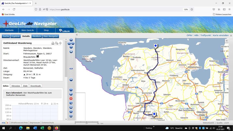 Screenshot des Ostfriesland-Wanderwegs auf GeoLife.de. Dort ist der Weg als dynamische Karte dargestellt