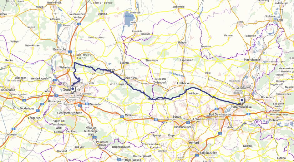 Screenshot des Wittekindsweges auf GeoLife.de. Dort ist der Weg als dynamische Karte dargestellt