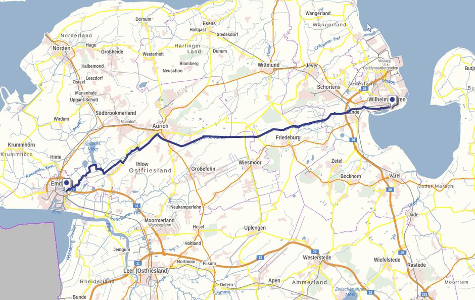 Screenshot des Ems-Jade-Weges auf GeoLife.de. Dort ist der Weg als dynamische Karte dargestellt.
