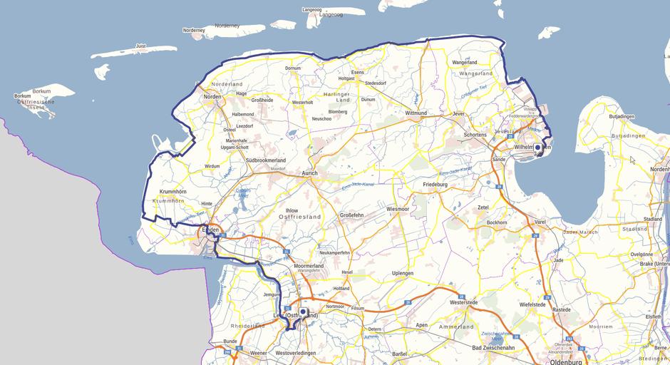 Screenshot des Störtebekerwegs auf GeoLife.de. Dort ist der Weg als dynamische Karte dargestellt