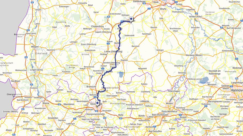 Screenshot des Pickerwegs auf GeoLife.de. Dort ist der Weg als dynamische Karte dargestellt