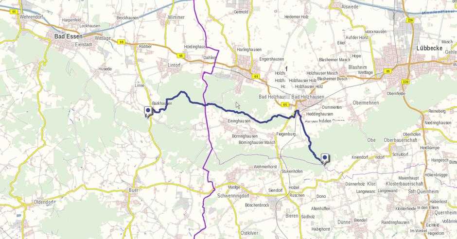 Screenshot der Nordvariante auf GeoLife.de. Dort ist der Weg als dynamische Karte dargestellt.
