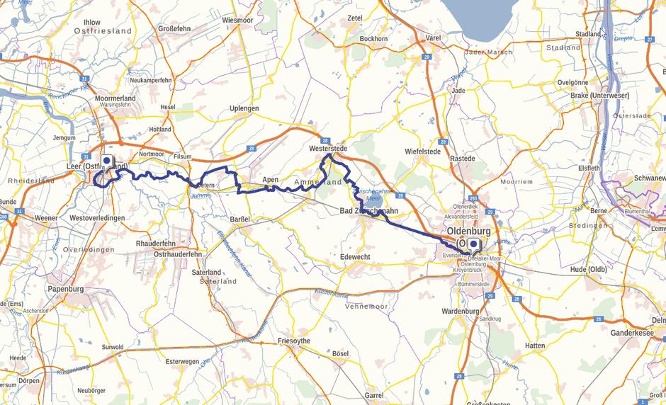 Screenshot des Ems-Hunte-Weges auf GeoLife.de. Dort ist der Weg als dynamische Karte dargestellt.