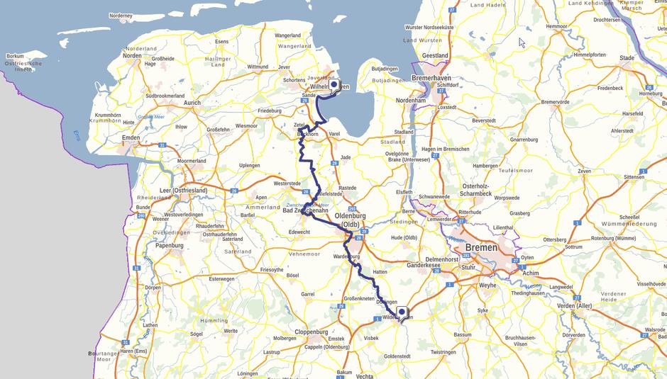 Screenshot des Jadewegs auf GeoLife.de. Dort ist der Weg als dynamische Karte dargestellt