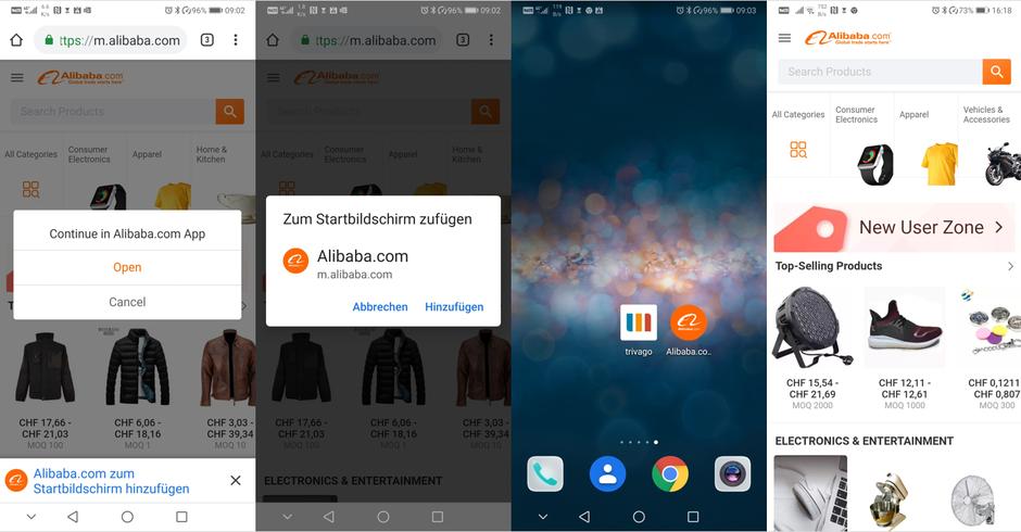 Eine PWA (Progressive Web App) wird wie eine Webseite durch den Link-Eintrag in die Adresszeile des Browsers aufgerufen und dem Homescreen hinzugefügt.