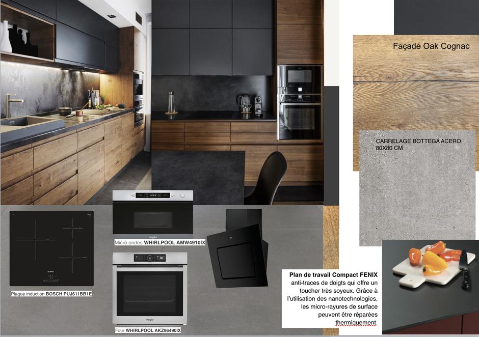 Planche d'ambiance d'une cuisine noir et bois, conception En Toile de Fond Décoration, Séverine EBER-HITZ