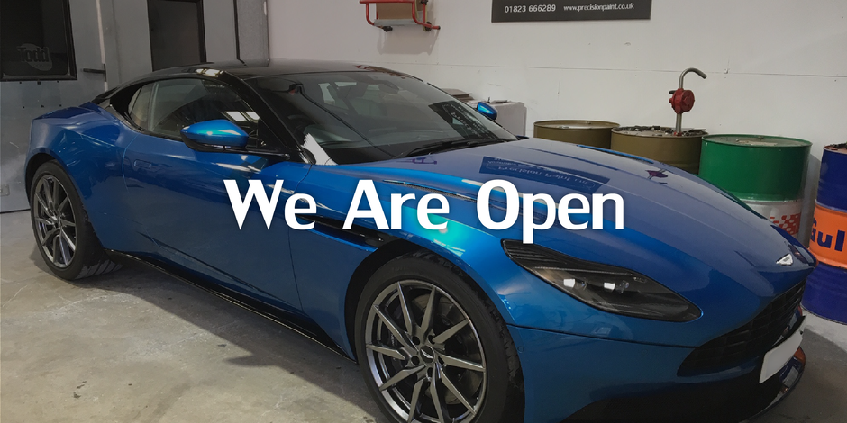 Blue DB11 Supercar, in the workshop, finished paintwork by Precision Paint, Wellington