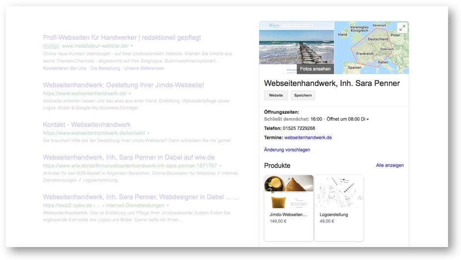 Beispiel eines Google-My-Business-Eintrags: Webseitenhandwerk