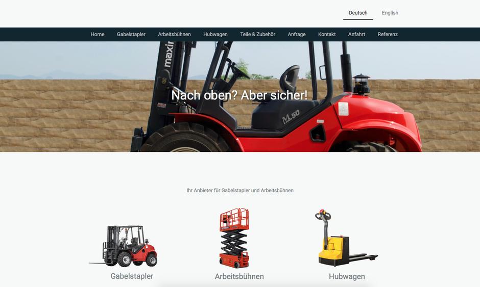 Gestaltungsbeispiel: Webseite für Gabelstapler und Hebebühnen