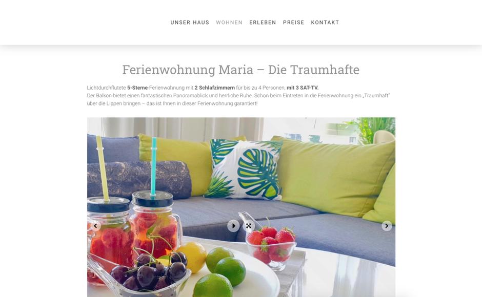 Referenzen Webseitenhandwerk: Webseite für Ferienwohnungen