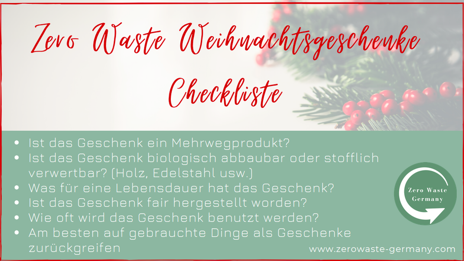 Zero Waste Weihnachtsgeschenke Checkliste -Zero Waste Deutschland -Zero Waste Germany -Zero Waste Weihnachten