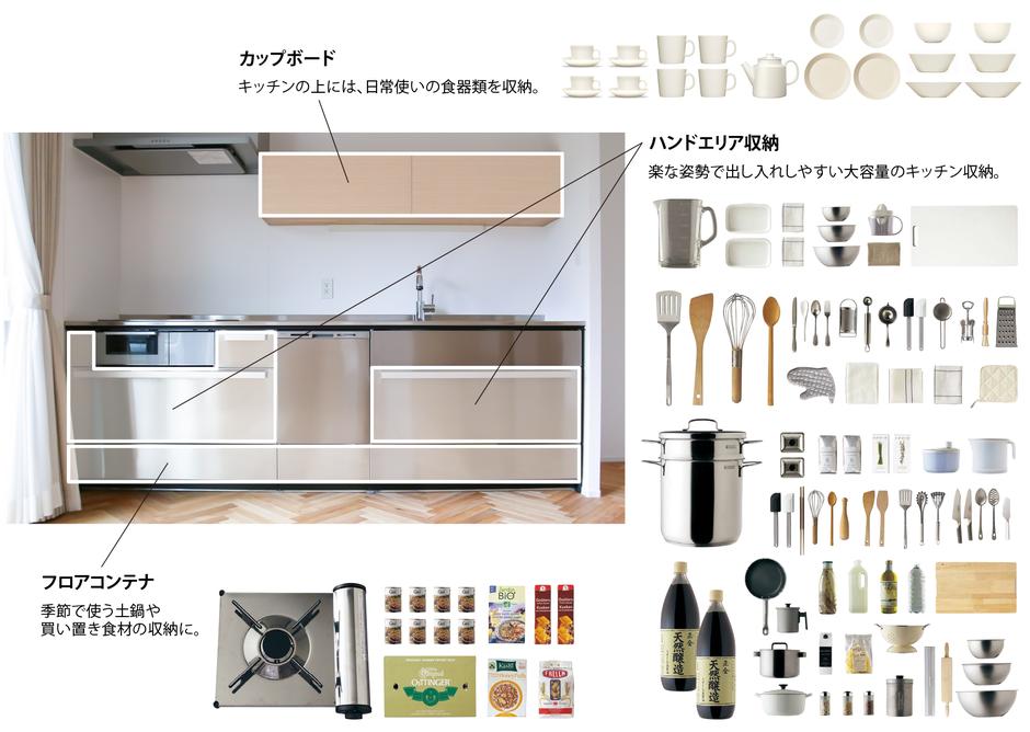 ハコイエのキッチン収納の画像