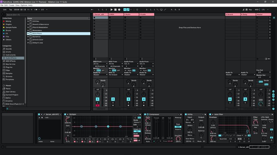 Ableton Live 11 theme RetroRose Session View