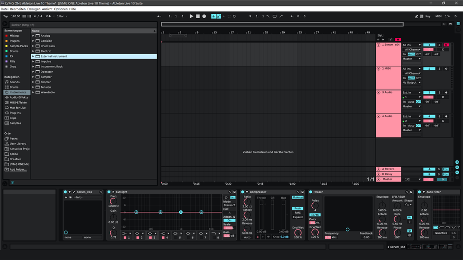 Ableton Live 10 theme RetroRose Arrangement View
