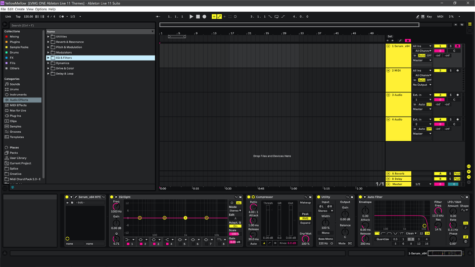 Ableton Live 11 theme YellowMellow Arrangement View