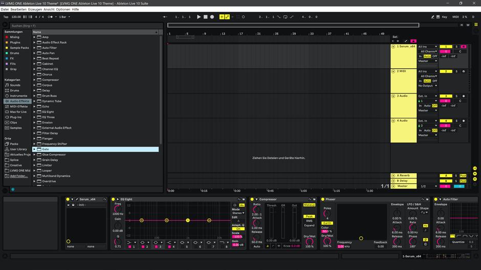 Ableton Live 10 theme YellowMellow Arrangement View
