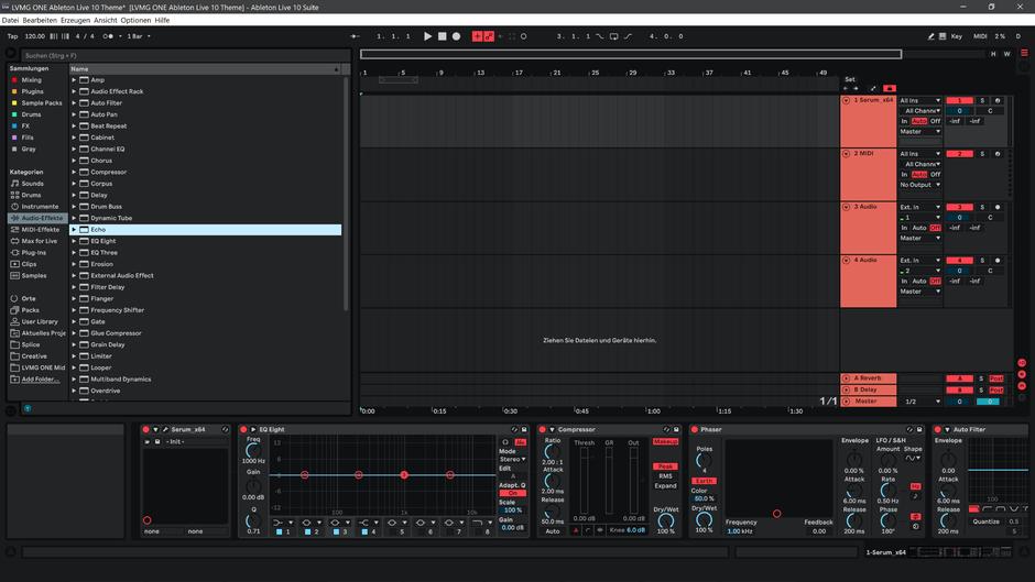 Ableton Live 10 theme NeonRed Arrangement View