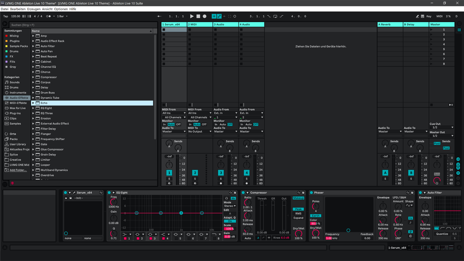 Ableton Live 10 theme PinkyBlue Session View