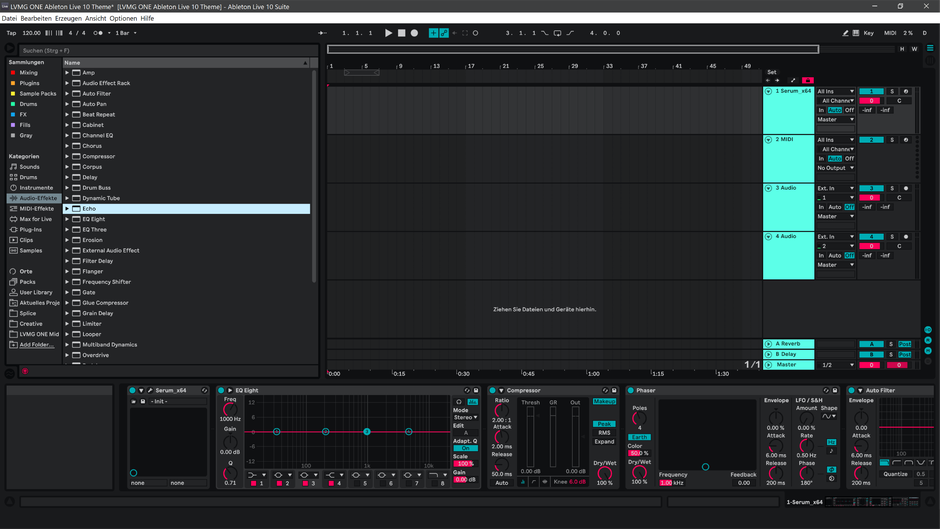 Ableton Live 10 theme PinkyBlue Arrangement View