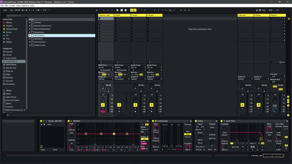 Ableton Live 11 theme YellowMellow Session View