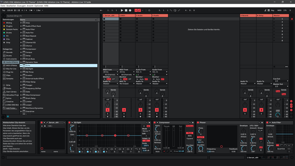 Ableton Live 10 theme NeonRed Session View