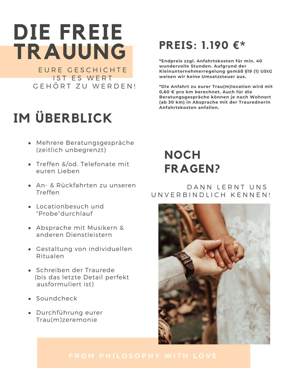 Was kostet eine freie Trauung. Preisinformationen zur freien Trauung in Berlin, Hamburg, Düsseldorf und Osnabrück from Philosophy with Love - Freie Trauungen und Hochzeitsreden