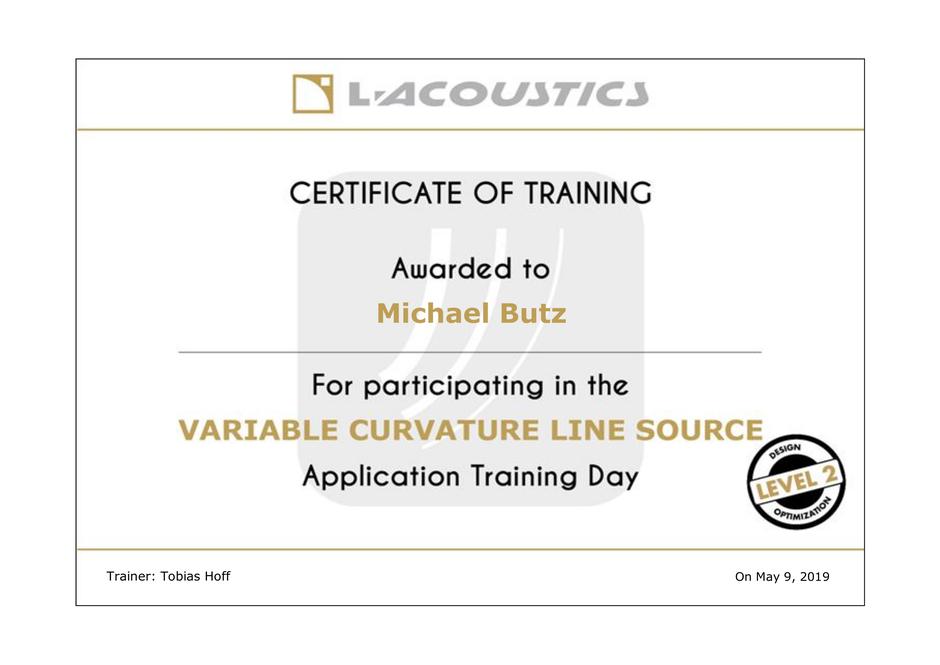 Michael Butz VCLS Training Certificate