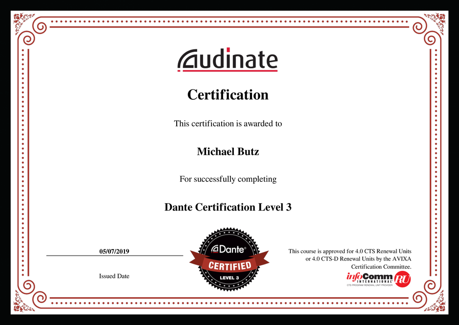 Michael Butz Dante Certification Level 3