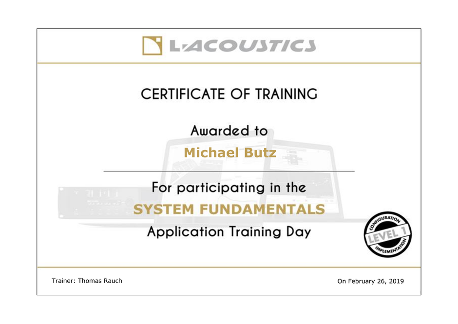 Michael Butz System Fundamentals Training Certificate
